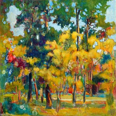 """Colorful Contemporary Impressionist Landscape Painting, Abstract Landscape, Autumn Trees """"Random Patterns"""" by Passionate Purposeful Painter Holly Hunter Berry"""