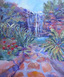 Waterfall Garden, New Contemporary Landscape Painting by Sheri Jones
