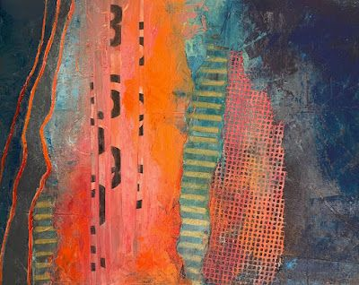 """Oil and Cold Wax Abstract Painting, """"Beach Highway"""", by Carol Nelson Fine Art"""