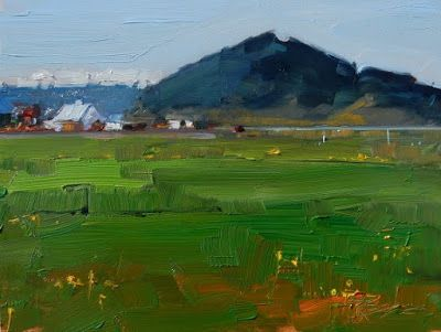 """""""Valley Farm"""" Plein air landscape painting by Robin Weiss"""