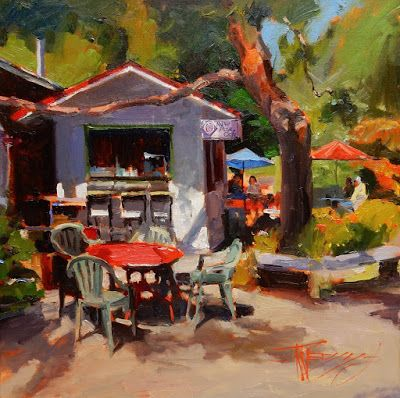 """""""The New Rose Cafe"""" Bainbridge Island oil painting by Robin Weiss"""