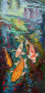 """""""Wait for Me II"""" Koi Fish Palette Knife Painting by Niki Gulley"""