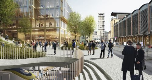 C.F Møller and MT Højgaard Propose Covering Aarhus Railway Site with Car-Free Urban District