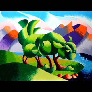Mark Webster - Cats Cradle Sunrise - Abstract Geometric Landscape Oil Painting