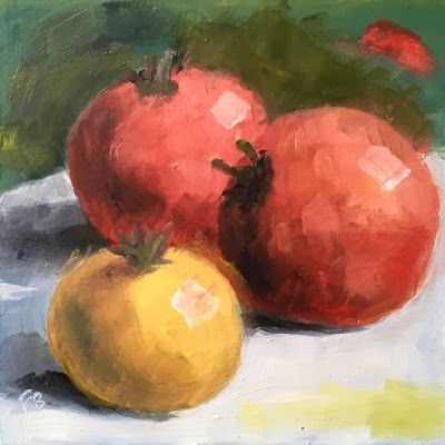 315 Two Red, One Yellow, Still Life Painting of Three Tomatoes by Fred Bell