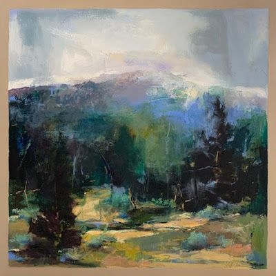 """Abstract Landscape, Contemporary Intuitive Abstract Painting """"HIGH ASPIRATIONS"""" by Intuitive Artist Joan Fullerton"""