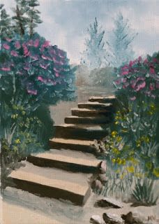 Mark Webster - Stairs in the Flower Garden Oil Painting