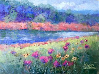 River Bank, New Contemporary Landscape Painting by Sheri Jones