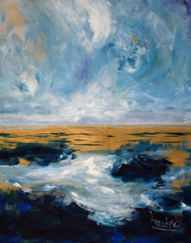 """Contemporary Seascape, Landscape Painting """"Transference"""" by International Abstract Artist Arrachme"""