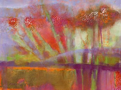 "Contemporary Abstract Flower Art Painting ""Brilliant Forest 2"" by Illinois Artist Marilyn Weisberg"