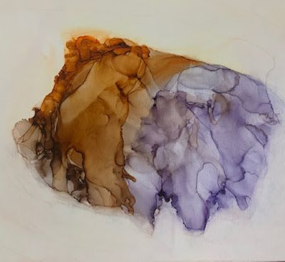"""Alcohol Inks, Abstract Painting, Contemporary Art """"SUNSET KISSING TWILIGHT"""" by Florida Artist Mary Ann Ziegler"""