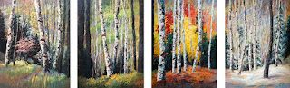 """""""Evolving Seasons"""" Large Scale Quad Painting by Contemporary Impressionist Niki Gulley"""