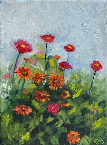 """""""Zinnia and Indian Blankets,"""" by Melissa A. Torres, 9x12 oil on linen"""