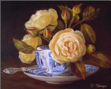 Butter Yellow English Roses in Spode Blue Italian Teacup 8x10 in. classical oil painting still life