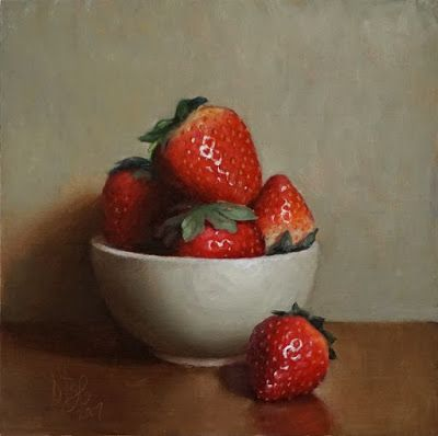 """""""Bowl of Strawberries"""" o/b 6x6 inches"""