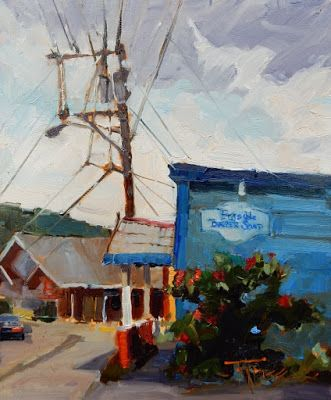 """Bayview Barber Shop"" Paintout Poulsbo, plein air painting by Robin Weiss"