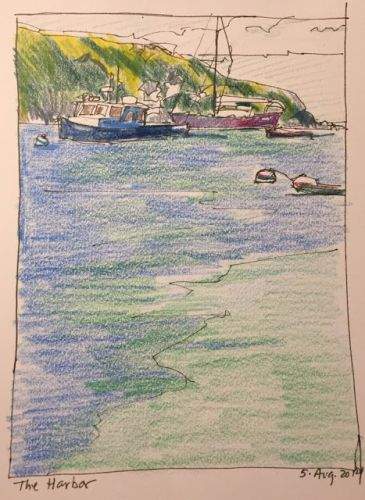 """Day 301 """"The Harbor"""" 8 x 5 ink & pencils"""