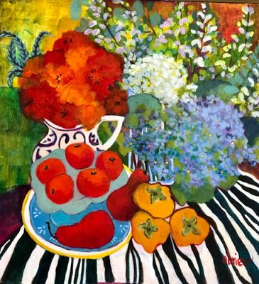 "Contemporary Expressionist Still Life Art Painting ""Persimmons, Pears, Oranges"" by Santa Fe Artist Annie O'Brien Gonzales"