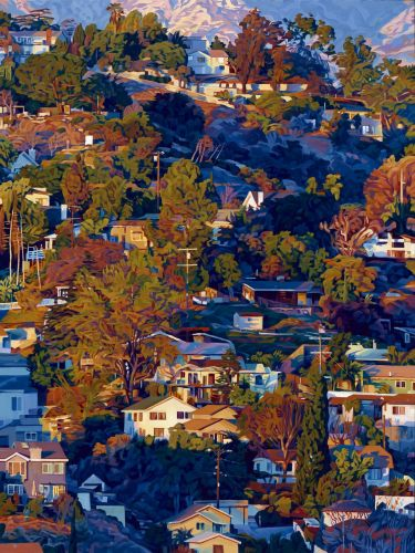 Light Casts a Magical Glow on the Residential Hills of Los Angeles in Paintings by Seth Armstrong