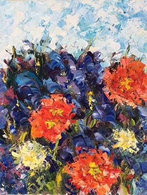"""Original Palette Knife Poppy Flower Oil Painting """"American Beaut"""" by Colorado Impressionist Judith Babcock"""