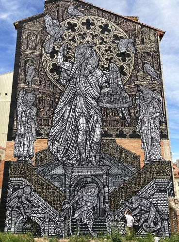 A Mythical Stencil Mural by MonkeyBird Is a Monumental Homage to Burgos Cathedral