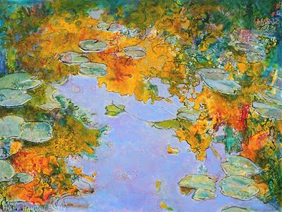 """Abstract Landscape Painting, Mixed Media, Water, Trees, Fine Art For Sale, """"Living Water"""" By Passionate Purposeful Painter Holly Hunter Berry"""