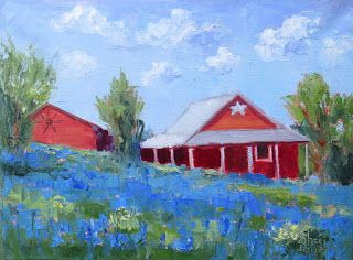 Contemporary Impressionistic Landscape and Floral Palette Knife Plein Air Oil Painting by Artist Sheri Jones