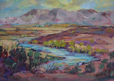 "Impressionist Landscape,Trees, Fine Art Oil Painting ""Fertile Valley"" by Colorado Contemporary Fine Artist Jody Ahrens"