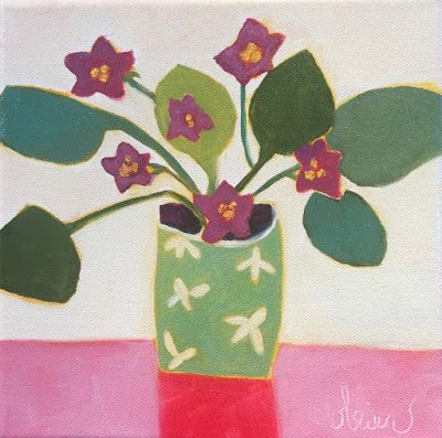"""Contemporary Abstract Still Life Floral FINE ART PRINT """"LITTLE VIOLETS 2"""" by Santa Fe Artist Annie O'Brien Gonzales"""
