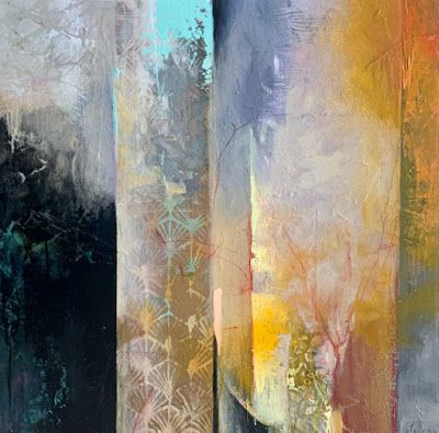 "Contemporary Landscape, Painting, Abstract Art ""EARLY MORNING"" by Intuitive Artist Joan Fullerton"