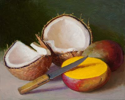 Mango and coconut still life oil painting a day