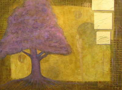 "Contemporary Abstract Mixed Media Tree, Landscape Art Painting ""Tree of Life"" by Contemporary Arizona Artist Pat Stacy"