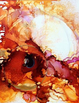 """Contemporary Abstract Painting, Alcohol Ink Art """"CHAMBERS"""" by New Orleans Artist Lou Jordan"""