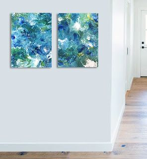Abstract 416 Teal Aqua Blue Green Art Abstract Painting Ocean Blue White Seascape Coastal Large Canvas Prints Wall Art