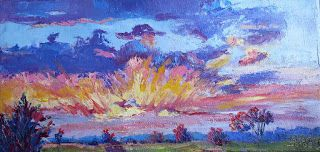 Textured Sunrise, New Contemporary Landscape Painting by Sheri Jones