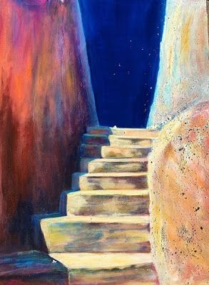"""Contemporary Architectural Painting, Stairway """"Stairway to the Stars"""" by California Artist"""
