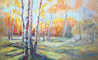 "New ""Chit Chat"" Palette Knife Aspen Tree Painting by Niki Gulley"