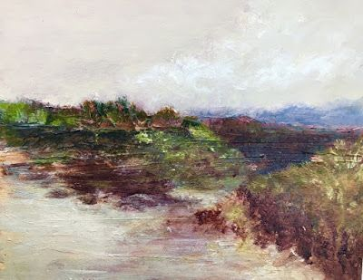 """Contemporary Landscape Painting,Textured Art, Mixed Media, Fine Art For Sale """"Further West"""" by Contemporary Artist Liz Thoresen"""