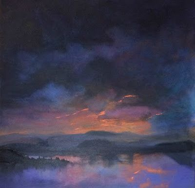 """Contemporary Landscape Fine Art Oil Painting, Sunset, Lake, Mountains """"Almost Gone"""" by Colorado Artist Susan Fowler"""