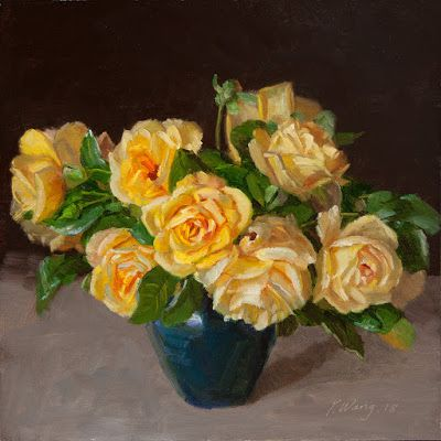 Yellow roses still life painting original flower painting a day