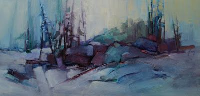 "Winter Landscape, Abstract Landscape, Mountain Landscape, Trees, Fine Art Oil Painting ""Emerald Mountain"" by Colorado Contemporary Fine Artist Jody Ahrens"