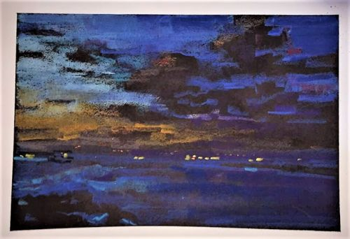 """Day 519 """"End of Day"""" pastel on black ink"""