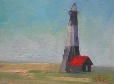 Tybee Island Lighthouse, Small Oil Painting, Daily Painting, 6x8