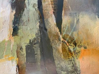"Contemporary Abstract Fine Art Painting ""SPACES BETWEEN "" by Intuitive Artist Joan Fullerton"