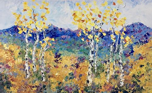"Palette Knife Aspen , Colorado Landscape Painting ""Summer in the Rockies"" by Colorado Impressionist Judith Babcock"