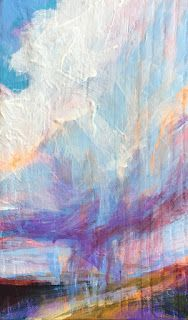 "CLOUD BURST - 6"" x 3 1/2"" acrylic on wood by Susan Roden"