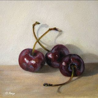 Trio of black cherries contemporary realism little gems oil paintings