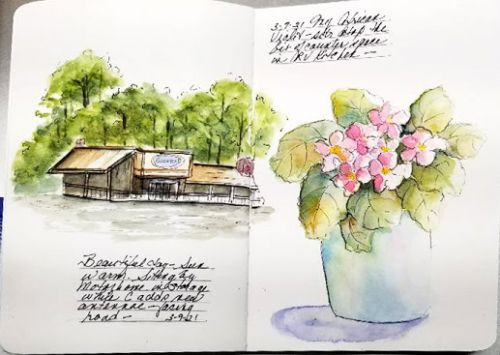 Sketchbook Journal - Flower and Shopping Area