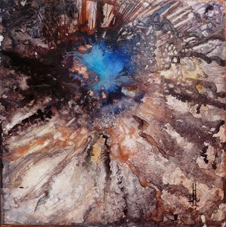 "Original Alcohol Ink Contemporary Abstract Cosmos, Geologic Abstract Painting ""BURST"" by Richmond Artist Lou Jordan"