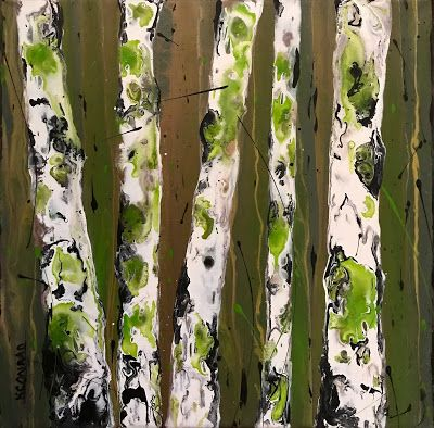"Aspen Tree Painting,BirchTrees, Abstract Aspens,Autumn Landscape ""Forest Reflections III"" by Colorado Contemporary Landscape Artist Kimberly Conrad"
